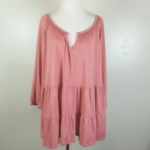 NWT Absolutely Famous Rose Tiered Peasant Tunic 2X